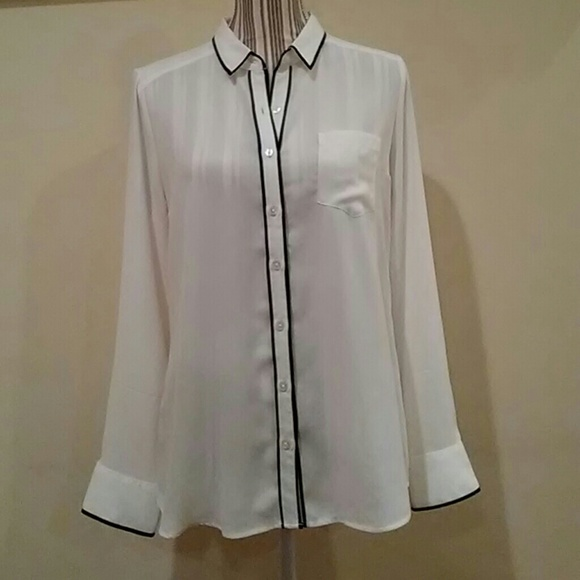 5294c0e3 Express Tops   Off White Dress Shirt With Black Piping   Poshmark